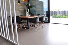 #Inalco. Project: Single House in Castellón by Architect Luis Sanmiguel. #Magma series, Moka colour. fits great with natural concrete. #Porcelain #stone in 100x100 cm. format.