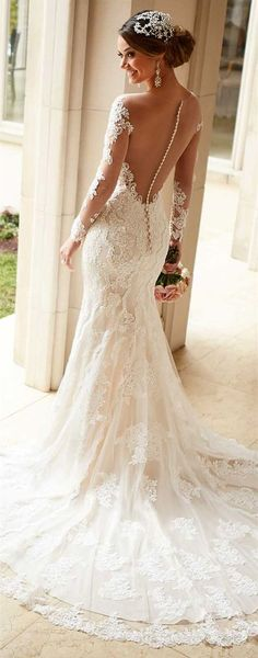 40 ideas vestidos de novia con diseño de cuello ilusión. #VestidosDeNovia