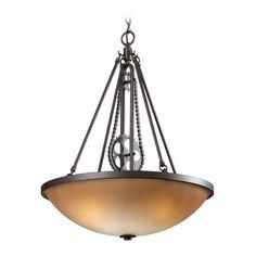 Elk Lighting Elk Lighting Cog and Chain Vintage Rust LED Pendant Light with Bowl / Dome Shade 66265-3-LED