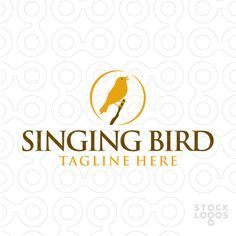 Logo shows a singing nightingale bird sitting on a tiny branch. Logo can be used for various businesses, such as for example: art studio, arts store, bed and breakfast, charity, day care, dentist, garden center, inn, natural and organic merchandise, natural habitat, natural healing, nature product, photography, printing  publishing, real estate, rehab center, residential community, senior center, wildlife preservation, and many more.