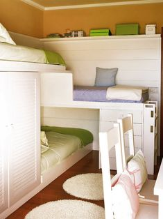 Three in a corner. Great use for small space & there's even room for a small closet.