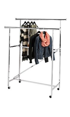 Portable And Expandable Garment Rack In Black Chrome 18 Months Double Garment Racks Double Rail Clothes Racks In Stock  Uline