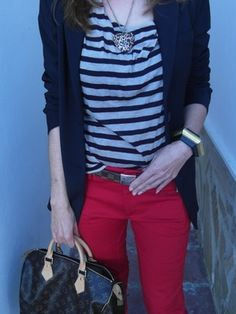 just bought red jeans.... exploring outfit options