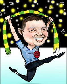 """This caricature was a 40th Birthday gift for the subject. He's wearing a Coventry jersey and holding a Donegal GAA scarf. He's got a Lord of the Dance connection so I've drawn him in full flight! I got lovely feedback from my customer too: """"Thank you so much! I really didnt expect it to be done that quick. It is brilliant, such a good job. He is going to love it!"""" I'm #40thBirthday #birthdaygift #birthdaypresent #Caricature #conventry #dance #Donegal #GAA #gift #LordoftheDance"""