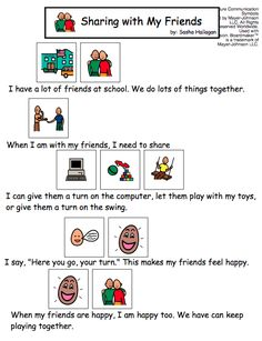 Sharing with My Friends - Visual Story for Kids with Autism: Social Stories Autism, Social Skills Autism, Teaching Social Skills, Autism Resources, Social Emotional Learning, Speech Language Therapy, Speech And Language, Autism Classroom, Art Classroom
