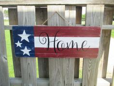 Patriotic Flag Home Sign, American Flag Decor, of July Rustic Sign, Welcome Home, Red White Blue - Products - Pallet Barn Wood Signs, Diy Wood Signs, Rustic Signs, Rustic Wood, Fourth Of July Decor, 4th Of July Decorations, July 4th, Birthday Decorations, Patriotic Crafts