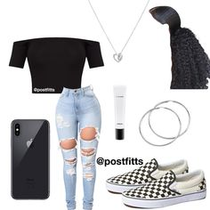 𝓘𝓼 𝓽𝔂𝓹𝓲𝓷𝓰 any color plain shirt - Jeans Black - Ideas of Jeans Black - 𝓘𝓼 𝓽𝔂𝓹𝓲𝓷𝓰 any color plain shirt black zip up jacket black jeans (ripped) any color vans (match shirt) Swag Outfits For Girls, Boujee Outfits, Cute Swag Outfits, Teenage Girl Outfits, Jordan Outfits, Cute Outfits For School, Teen Fashion Outfits, Dope Outfits, Polyvore Outfits