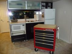 a repurposed tool chest becomes a portable kitchen island marcia moore design