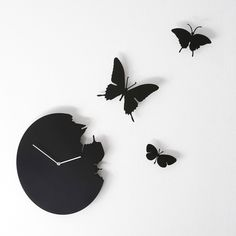 Diamantini & Domeniconi Butterfly Wall Clock - Black ($250) ❤ liked on Polyvore featuring home, home decor, clocks, decor, backgrounds, black, metal wall clock, battery powered clock, black clock and battery clock