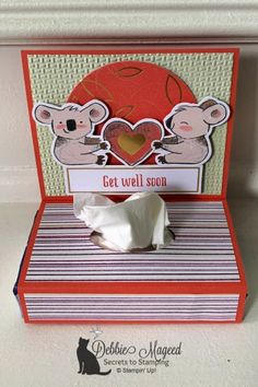 Beary Comforting Paper Pumpkin Kit by Stampin' Up! 3d Paper Projects, Paper Crafts, Boxes And Bows, Kleenex Box, Tea Party Bridal Shower, Easel Cards, Get Well Cards, Paper Pumpkin, Tissue Boxes