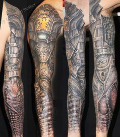 biomechanic armor tattoo by Mirek vel Stotker  #bio-mechanical #tattoo…