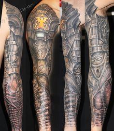 biomechanic armor tattoo by Mirek vel Stotker  #bio-mechanical #tattoo…