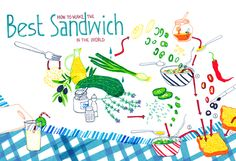 My favorite sandwich recipe illustration www. Best Sandwich, Sandwich Recipes, Food Illustrations, Sandwiches, How To Make, Paninis