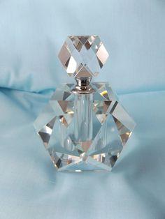 Oleg Cassini Large Cut Crystal Glass Perfume Bottle Screw Top Signed