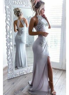 Sale Light High Neck Prom Dresses, Prom Dresses Long, Silver Party Dresses, Mermaid Prom Dresses Spaghetti Straps Long Simple Prom Dress with Split Party Dress