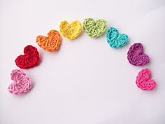 I love to crochet- these little hearts from flowergirlcottage's blog are super cute!