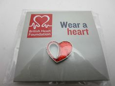 Charity Pin Badge British Heart Foundation Wear A Heart Red Glitter Open Design Heart Beat, Red Glitter, Pin Badges, In A Heartbeat, Charity, Foundation, British, How To Wear, Ebay