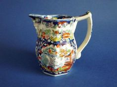 Mayer and Newbold Opaque China 'Chinoiserie' Pattern Jug with Mask Spout c1830
