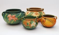 Roseville Pottery - Zepher Lily, Dahlrose, Pine Cone & White Rose Jardinieres
