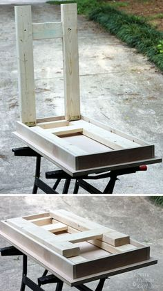 I designed plans for this simple farmhouse style folding laptop writing table. Folding Table Diy, Folding Workbench, Folding Desk, Folding Furniture, Diy Workbench, Woodworking Desk, Diy Table, Woodworking Projects, Diy Furniture