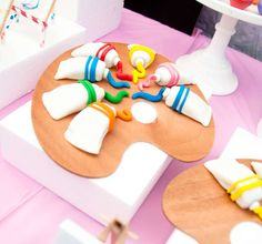 Art/Painting Birthday Party Ideas | Photo 1 of 22 | Catch My Party...i guess these are mini cakes?