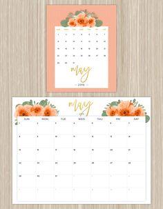 printable floral calendar - may