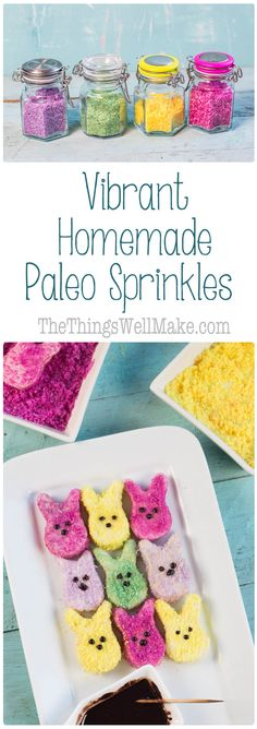 These easy paleo sprinkles have very vibrant colors and are made with natural ingredients that you likelyalready have sitting around your kitchen. via @thethingswellmake
