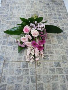 rouwboeket roze paars wit