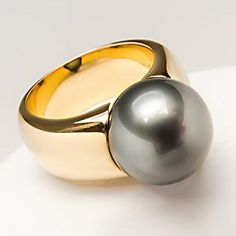 Mikimoto Black South Sea Pearl Ring 18K Gold--I love pearls and I LOVE this black pearl ring! I love the heavy comfort band. Who couldn't just love this ring?