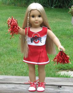 Cheer outfit.  This is not an offical Ohio State logo.  The shoes are a new pattern I made for this outfit. SOLD