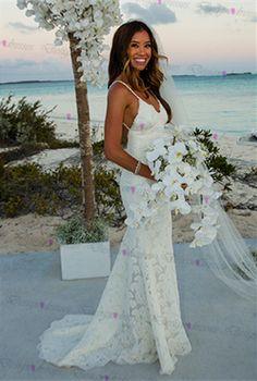 2016 Full Lace Wedding Dresses Mermaid Spaghetti Straps Slim Women