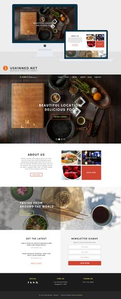 Umbraco CMS Starter Kit with Bootstrap theme - Simply Delicious by uSkinned Web Design, Corporate Website, Wordpress Theme, Restaurants, Yummy Food, Design Web, Delicious Food, Restaurant, Website Designs