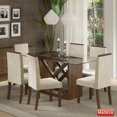 Compre Mesa de Jantar 6 Lugares Jamy Marrom - Madesa na Panorama Móveis. Entrega 100% Garantida para Todo Brasil. Confira agora!