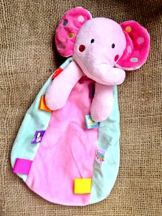 Elephant Baby Girls Plush Security Blanket Lovie by #Taggies #babies #toys #elephant #pink
