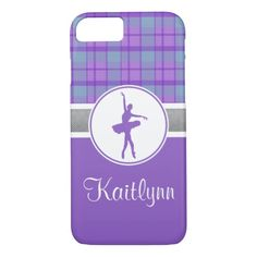 Personalized Purple Sweetheart Plaid Dancer iPhone 7 Case