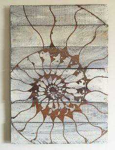 Nautlius Shell  Rustic Decor  Reclaimed Wood Art by TwistedSpiral