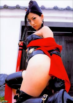 Mature lady Ran Asakawa dressed like a sexy ninja assasin.