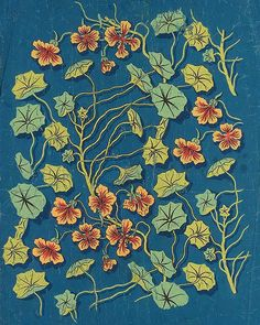Raoul Dufy, Design no. Nasturtiums against a prepared blue ground, bodycolour in thin paper - 62 x Raoul Dufy, Australian Painters, Print Patterns, Floral Patterns, Glitter Wallpaper, Plant Illustration, People Art, New Print, Vintage Floral