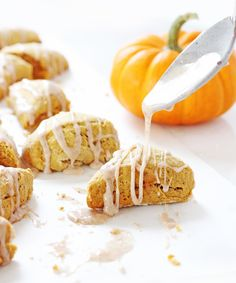 Fall mornings call for two-bite mini pumpkin scones. Coated with a spiced glaze, these little treats are good to eat for breakfast or an afternoon snack.