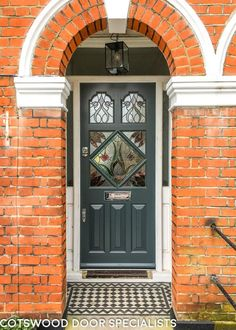 Edwardian slate grey front door with stained glass - Cotswood Doors Victorian Front Doors, Grey Front Doors, Front Door Porch, Front Door Entrance, House Front Door, Painted Front Doors, Glass Front Door, House Entrance, Front Entry