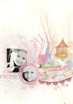 Love the layers of blown paint, paper and stamping.