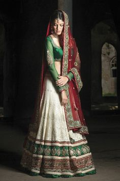 Traditional Gujarati bridal saree - red, white & green worn at a wedding are considered auspicious.
