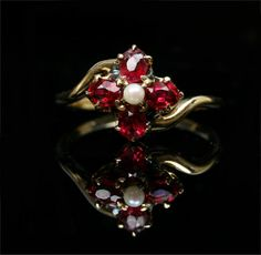 Victorian 10k Garnet and Pearl Flower Cluster by ArtifactVintage, $415.00