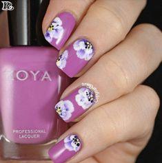 Nails ideas :flower nail art simple-floral nail art designs at home Nail Art Mauve, Floral Nail Art, Gel Nail Art, Easy Nail Art, Gel Nails, Acrylic Nails, Pink Nail, Matte Nails, Flower Nail Designs