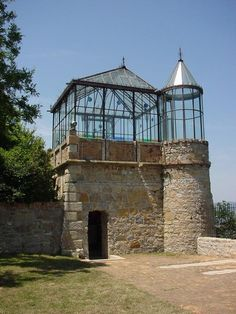 orangerie with turret of l'abbe Sauniere at Chateau Rennes . greenhouse