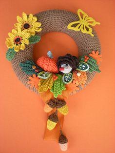 Crochet Pattern wreath pattern Crochet autumn by Petrapatterns