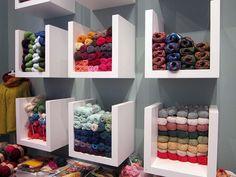 How to Choose Craft Stationary Paper Yarn Display, Fabric Display, Knitting Room, Yarn Storage, Sewing Room Organization, Lovely Shop, Yarn Shop, Yarn Colors, Crochet Yarn