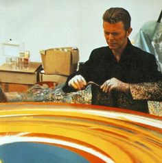 David Creating. Spin painting in collaboration with Damen Hirst