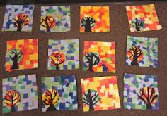 Paper Mosaic Art for warm and cool colors Fall Art Projects, Classroom Art Projects, School Art Projects, Art Classroom, Class Projects, Paper Mosaic, Mosaic Art, Square One Art, 2nd Grade Art