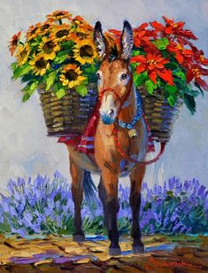 Diamond Painting By Numbers. Colorful Drawings, Art Drawings, Arte Latina, Mexican Paintings, Mexican Folk Art, Horse Art, Animal Paintings, Lovers Art, Canvas Art